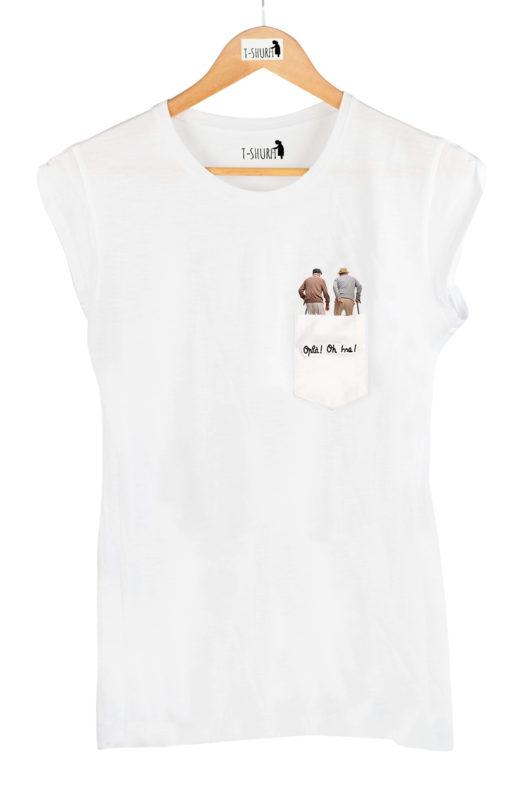 """T-Shura Donna su gruccia, t-shirt con anziani con bastone che vanno a passeggio e dicono """"Oplà Oh Issa"""" esclamazione nonni su taschino"""