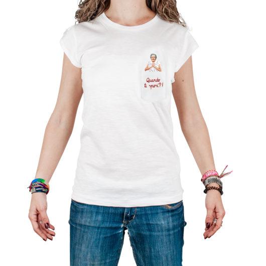 T-Shura femmina t-shirt cocca di nonna - maglietta con frase nonna taschino Quando ti sposi? ricamata in bordeaux t-sciura