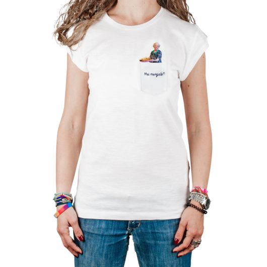 T-Shura t-shirt cocca di nonna - maglietta con frase nonna che cucina nel taschino Hai mangiato? ricamata in blu tee-shura