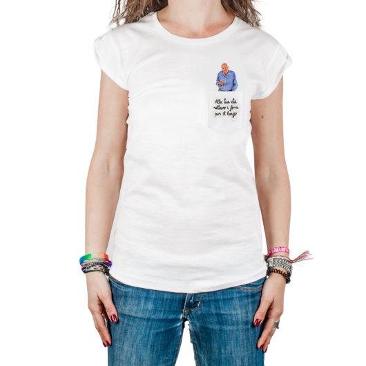 T-Shura femmina cocca di nonno - maglietta con frase nonno nel taschino Alla tua età saltavo i fossi per il lungo ricamata in marrone