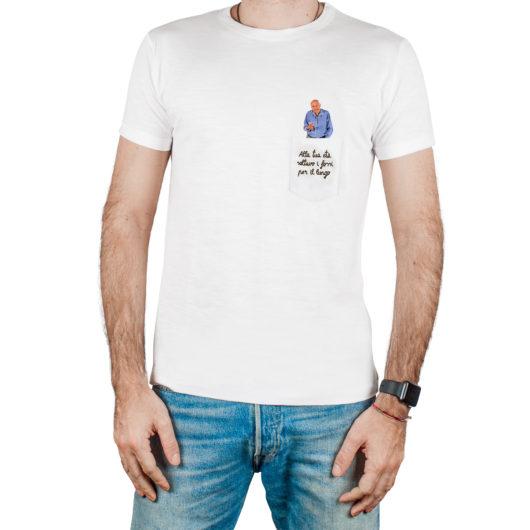 T-Shura maschio cocco di nonno - maglietta con frase nonno nel taschino Alla tua età saltavo i fossi per il lungo ricamata in marrone
