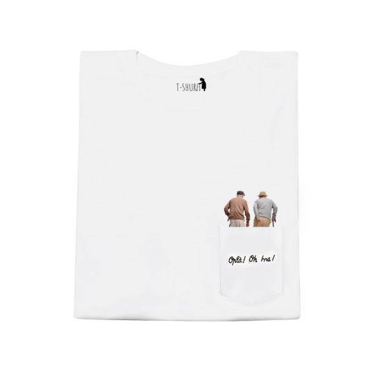 T-Shura maglietta umarell - t-shirt con anziani a passeggio nel cantiere scritta Oplà Oh Issa Frase ricamata in nero su taschino