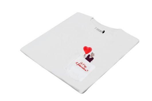 """T-Shura di lato - t-shirt con nonna con palloncino rosso a forma di cuore, maglietta con frase """"Ce l'hai la fidanzatina?"""" domanda tipica nonna"""""""