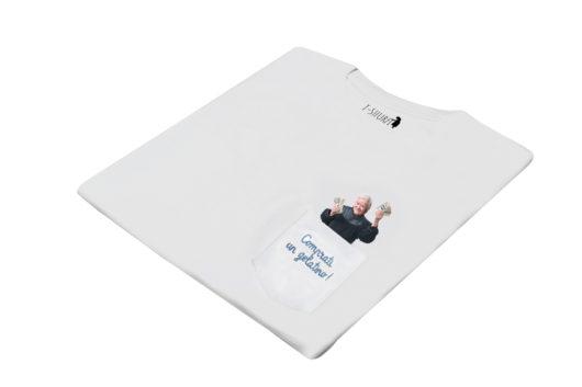 """T-Shura di lato - t-shirt con nonna con la mancetta di soldi, maglietta con frase anziana """"Comprati un gelatino"""" ricamata"""