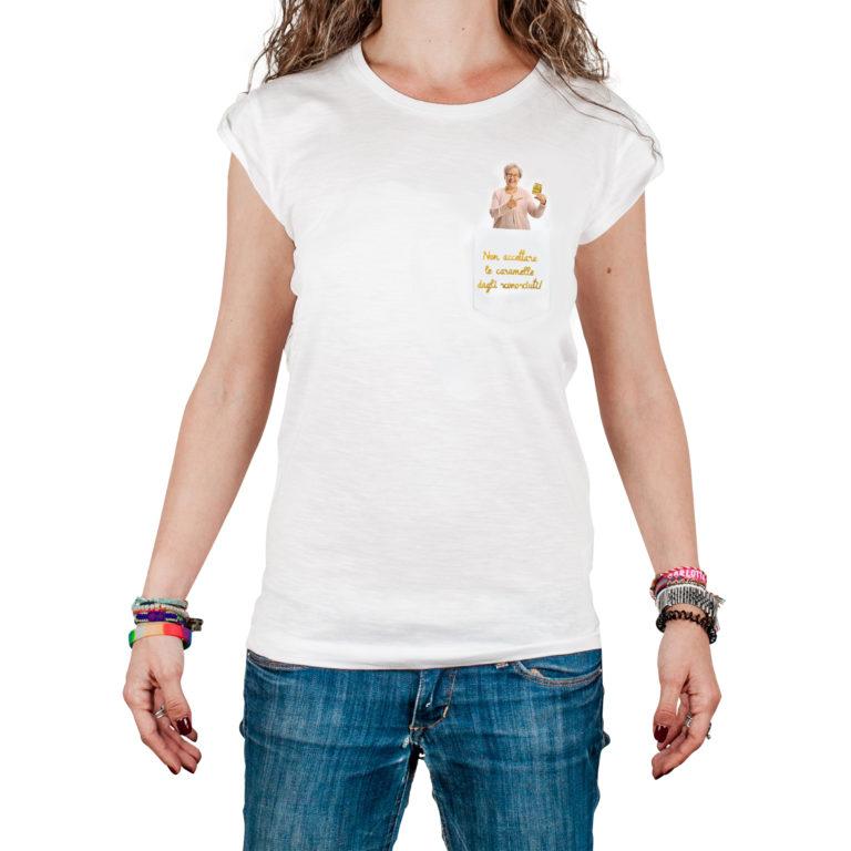 T-Shura femmina cocca di nonna - maglietta con frase nonna Non accettare le caramelle dagli sconosciuti in oro Limited Edition Pastiglie Leone