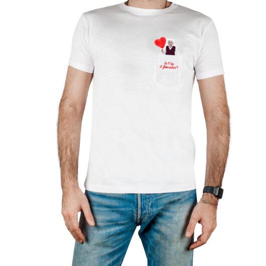 T-Shura maschio cocco di nonna - maglietta con frase nonna Ce'hai il fidanzatino? in rosso